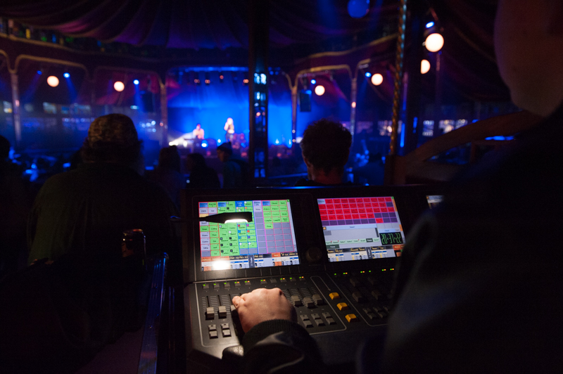 Lighting the Spiegeltent at WinterFest - Monash University